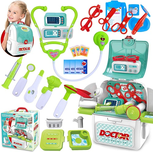INNOCHEER Doctor Kit for Kids 22 Pieces Pretend-n-Play Medical Toys Set