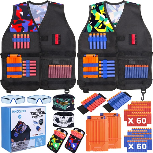 INNOCHEER Kids Tactical Vest Kit 2 Pack Compatible with Nerf
