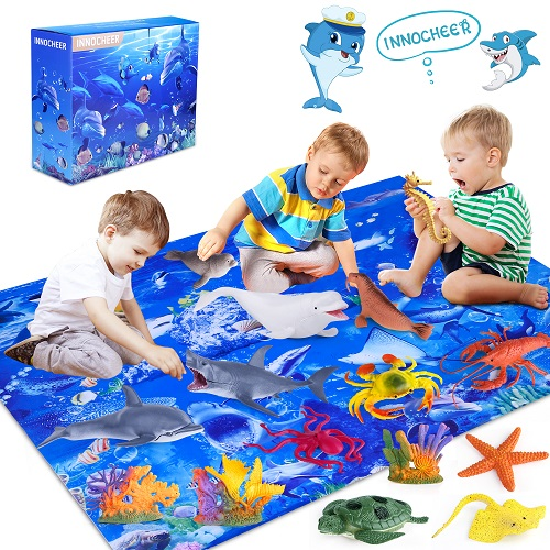 INNOCHEER Ocean Toys with Kids Play Mat
