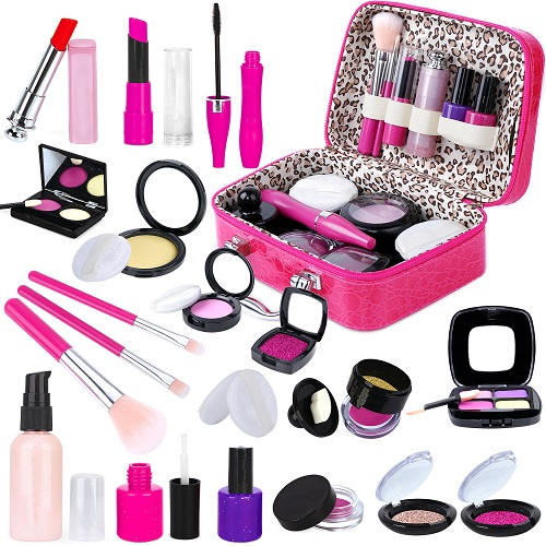 INNOCHEER Pretend Makeup Kit with Cosmetic Bag for Girls 4-10 Year Old