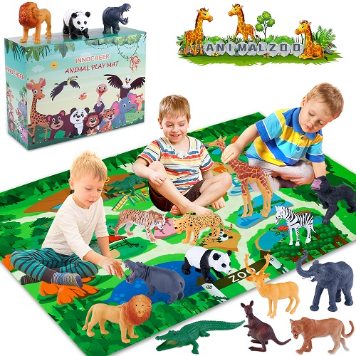 INNOCHEER Safari Animals Figures Toys with Play Mat