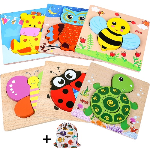 INNOCHEER Wooden Animal Jigsaw Puzzles for Toddlers